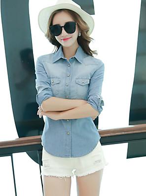 אחיד צווארון חולצה סגנון רחוב ליציאה חולצה נשים,סתיו שרוול ארוך כחול בינוני (מדיום) כותנה