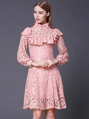 stephanie női kiment vintage dresssolid garbó térd felett hosszú ujjú rózsaszín pamut / műselyem