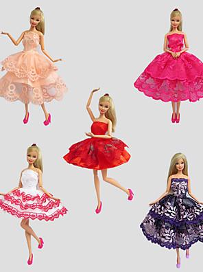 Fest/Aften Kjoler Til Barbie Doll Rød / Lilla / Hvid / Orange / Vinrød Blonde Kjoler For Pigens Doll Toy