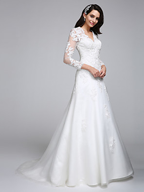 2017 A-line Wedding Dress Court Train V-neck Satin / Tulle with Appliques
