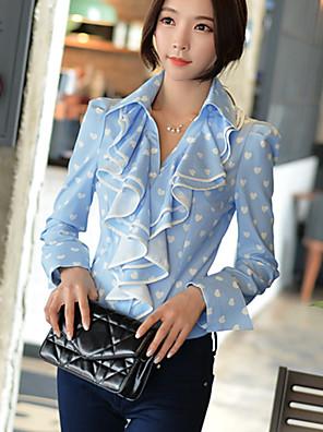 DABUWAWA® Női Állógallér Hosszú ujjú Shirt és blúz Ciánkék-D15CST061