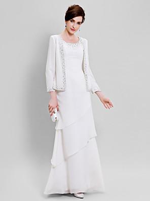 Lanting Bride® Tube / kolonne Plusstørrelse / Petite Kjole til brudens mor - Wrap er inkluderet Gulvlang Langærmet Chiffon - Perler /
