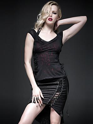 PUNK RAVE  T-332 Women's Vintage/Sexy Micro-elastic Short Sleeve Regular T-shirt (Cotton)