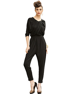 Women's Solid Black Jumpsuits , Sexy / Vintage / Work / Casual / Day V Neck ¾ Sleeve
