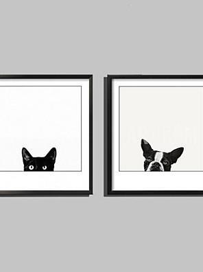 Dier Ingelijst canvas / Ingelijste set Wall Art,PVC Zwart Inclusief passepartout met Frame Wall Art