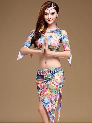 ריקוד בטן תלבושות בגדי ריקוד נשים ביצועים מילק פייבר דפוס / הדפסה 2 חלקים חצי שרוול טבעי חצאית / עליוןSuitable Weight