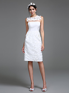 Lanting Bride® Tubinho Vestido de Noiva Até os Joelhos Decorado com Bijuteria Chiffon com Flor