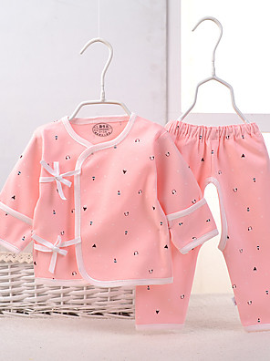 Baby Casual/Daily Print Clothing Set-Cotton-Spring-Blue / Pink / Red / Yellow / Beige / Gray