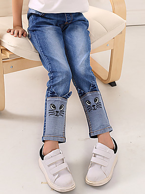 Girl's Cotton Spring/Autumn Fashion Patchwork Cat Pattern Children Skinny Jeans