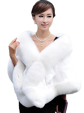 Estolas Femininas Mini Capa Sem Mangas Pelo Artificial Preto / Borgonha / Branco / Cinzento Casamento / Festa Decote em V 42cm Penas/ Pelo