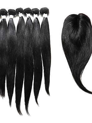 7 Dele Rett Human Hair vævninger Indisk hår Human Hair vævninger Rett