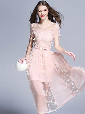 burdully vrouwen uitgaan schattig schede dresssolid ronde hals knielange korte mouwen roze / wit