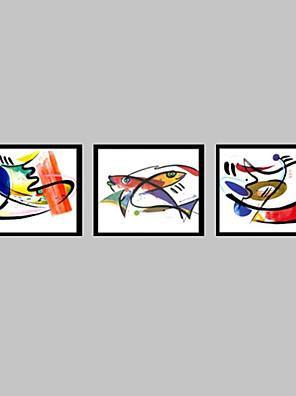 Abstract / Dier Ingelijst canvas / Ingelijste set Wall Art,PVC Zwart Zonder passepartout met Frame Wall Art