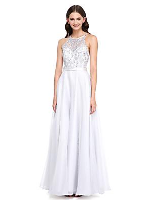 2017 Lanting bride® podlahy délka krajka / organza elegantní družička šaty - a-linie šperk s nášivky