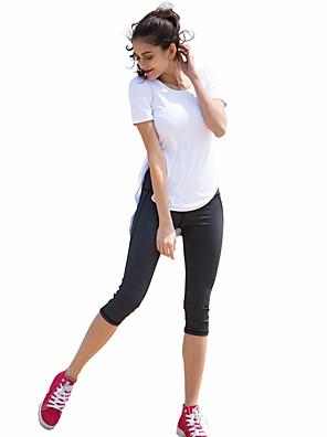 ריצה 3/4 טייץ לנשים ייבוש מהיר כותנה / פוליאסטר / אלסטייןיוגה / פילאטיס / טיפוס / רכיבה על סוס / כושר גופני / ספורט פנאי / בדמינטון /