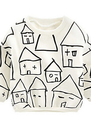 Girl's Casual/Daily Geometric Hoodie & SweatshirtCotton Winter White
