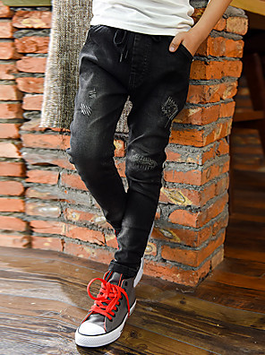 Boy's Casual/Daily Solid PantsPolyester Summer / Spring / Fall Black
