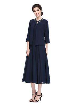 2017 Lanting bride® na řádku matka nevěsty šaty - elegantní čaj délky 3/4 délka rukávu šifon s korálkování