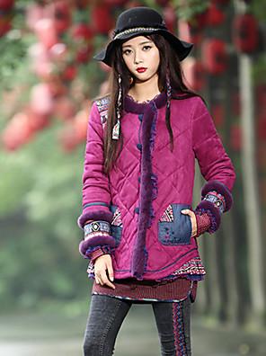 Damen Gefüttert Mantel,Standard Boho Ausgehen Druck-Polyester Baumwolle Langarm Lila Rundhalsausschnitt
