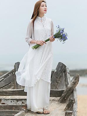 Dame Kineseri Casual/hverdag Løstsiddende Kjole Ensfarvet,Høj krave Maxi Langærmet Hvid Bomuld / Hør Efterår Alm. taljede Mikroelastisk