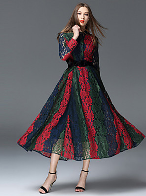 Feminino Bainha Vestido,Happy-Hour Sofisticado Color Block Colarinho de Camisa Longo Manga Longa Vermelho Poliéster Primavera / Outono