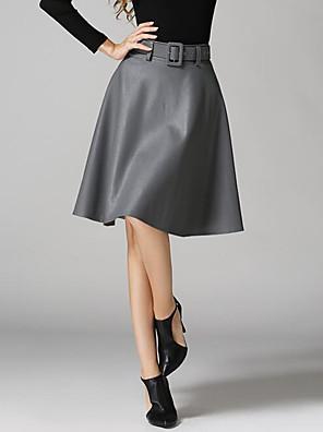 Damen Röcke - Aktiv Knielang Leder Mikro-elastisch