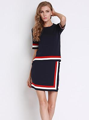 Dámské Proužky Běžné/Denní Vintage Sada Sukně Obleky-Podzim Bavlna Kulatý Krátký rukáv Černá Střední
