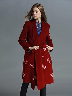 Dames Chinoiserie Herfst / Winter Jas,Uitgaan Sjaalrevers-Lange mouw Blauw / Rood Geborduurd Medium Wol