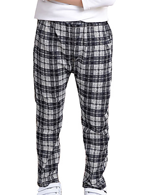 מכנסיים יום יומי\קז'ואל משובץ דמקה אחרים סתיו שחור / כחול / אפור הילד של