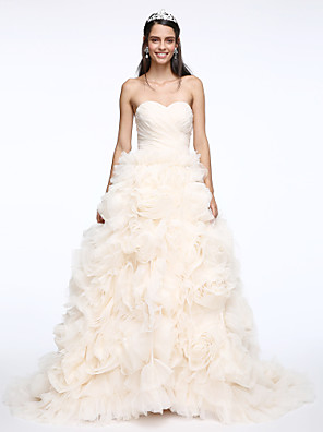Lanting Bride® A-line Wedding Dress Little White Dresses Court Train Sweetheart Organza with Criss-Cross / Flower / Ruche