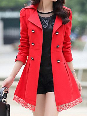 Women's Trench Coat,Patchwork Long Sleeve Fall Red / Black / Green / Orange / Yellow Cotton / Others Medium