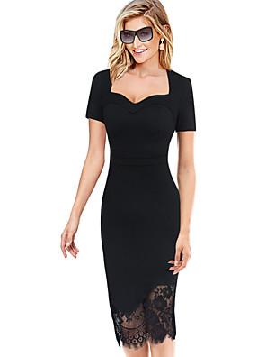 Dámské Vintage Velké velikosti Bodycon Šaty Jednobarevné,Krátký rukáv Hluboké U Midi Černá Bavlna / Polyester / Spandex Léto Mid Rise