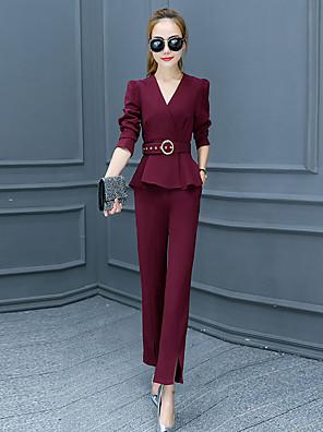 Langærmet V-hals Medium Dame Rosa / Rød / Sort / Grå Ensfarvet Efterår Street I-byen-tøj Sæt Bukse Suits,Polyester