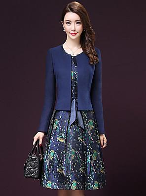 סתיו פוליאסטר כחול שרוול ארוך עד הברך צווארון עגול דפוס סגנון רחוב ליציאה / מידות גדולות שמלה גזרת A נשים,גיזרה בינונית (אמצע) מיקרו-אלסטי