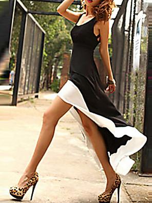 Sexy Jdeme ven Šaty Barevné bloky,Bez rukávů Ramínka / Hluboké U Nad kolena / Asymetrické Černá Polyester Léto Lehce elastické Střední