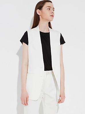 c + zapůsobit ženská práce léto blazersolid hluboko v bez rukávů bílá / hnědá umělé hedvábí / polyester / spandex neprůhledný
