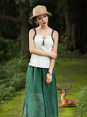 Our Story Going out Chinoiserie Spring / Fall Tank Top Strap Sleeveless White Cotton Medium