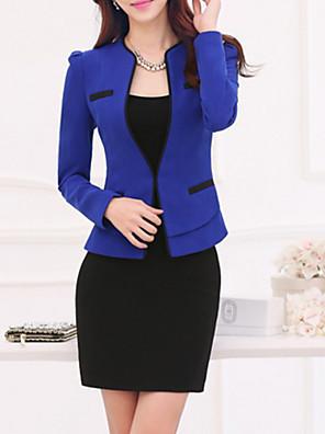אחיד U עמוק מידות גדולות בלייזר נשים,סתיו שרוול ארוך כחול / בז' בינוני (מדיום) פוליאסטר