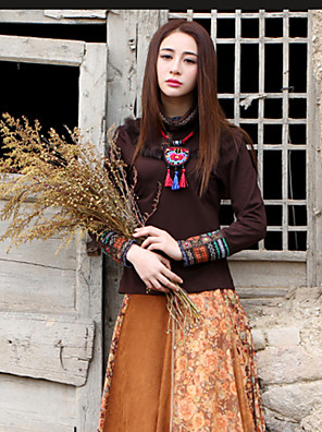 Our Story Going out Vintage Regular PulloverPaisley Brown Crew Neck Long Sleeve Cotton / Spandex Spring