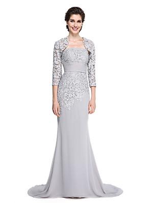 2017 לנטינג אמא חצוצרה / בת הים bride® של שמלת כלה - לטאטא אלגנטי / מברשת רכבת 3/4 אורך שיפון שרוול / תחרה