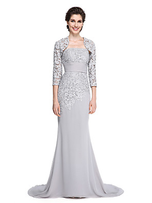 2017 Lanting bride® trompete / sereia mãe do vestido de noiva - varredura elegante / trem escova de 3/4 comprimento chiffon luva / rendas