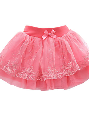 Girl's Going out Solid SkirtPolyester Summer Pink / Red / Yellow / Beige