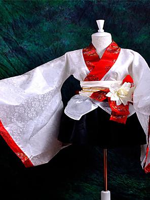 תלבושות Wa Lolita לוליטה Cosplay שמלות לוליטה אדום / לבן / Black טלאים שרוול ארוך אורך קצר מעיל קימונו / חצאית / חגורה / קשת ל נשים סאטן