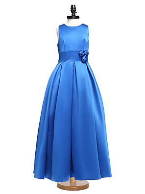 2017 לנטינג סאטן באורך הרצפה bride® תכשיט שמלת שושבינה הזוטר שמלת הנשף עם אבנט / סרט / פרח (ים)