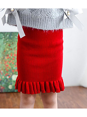 חצאית יום יומי\קז'ואל אחיד כותנה / אקריליק חורף / סתיו שחור / אדום הילדה של