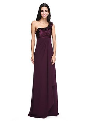 Lanting Bride® עד הריצפה שיפון / סאטן נמתח שמלה לשושבינה - אלגנטי מעטפת \ עמוד כתפיה אחת עם קפלים