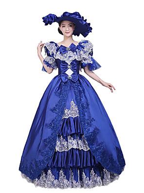 Uma-Peça/Vestidos Gótica / Doce / Lolita Clássica e Tradicional / Punk Steampunk® Cosplay Vestidos Lolita Azul Floral 3/4 de Manga