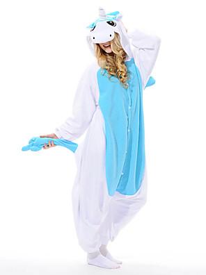 Kigurumi Pyjamas Unicorn Trikot/Heldragtskostumer Festival/Højtider Animal Nattøj Halloween Blå Patchwork Polar Fleece Kigurumi For Unisex