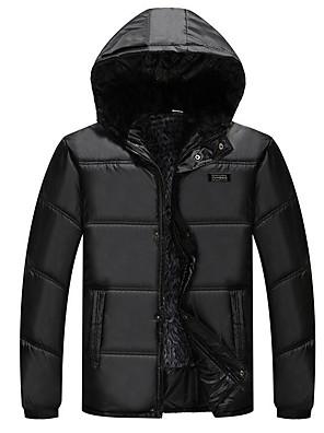 Muži Standardní S vycpávkou Jednoduché Běžné/Denní Jednobarevné-Kabát Jiné Bavlna Dlouhý rukáv Černá