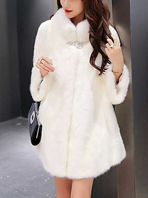 Women's Casual/Daily Sexy / Cute Fur CoatSolid Crew Neck Long Sleeve Winter White / Black Faux Fur Thick
